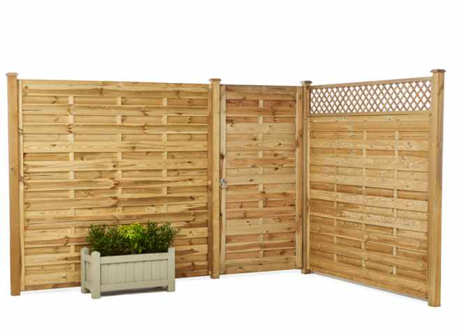 Fence Panels Cross Top Picket and Solid Wooden Fencing Garden
