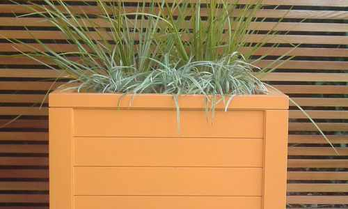 Contemporary orange planter
