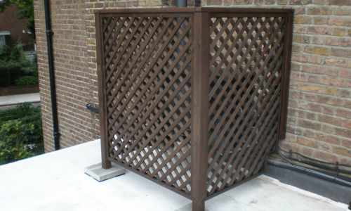 Trellis to conseal aircon unit