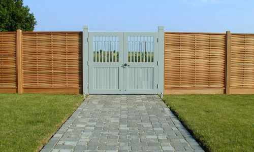 Bespoke painted gates within weave panels