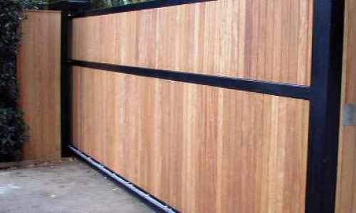 Iroko clad metal framed gate