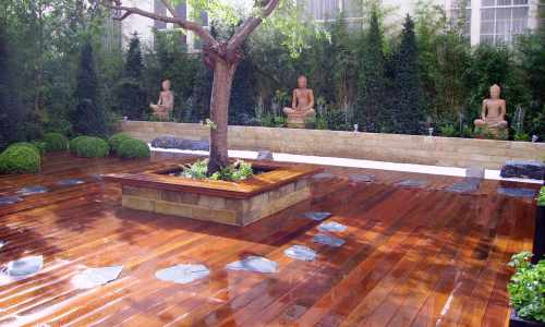 Decking with slate inset