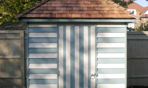 Two tone painted garden shed