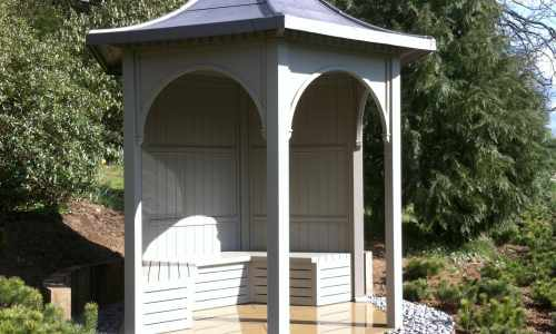 Arbour with a lead roof
