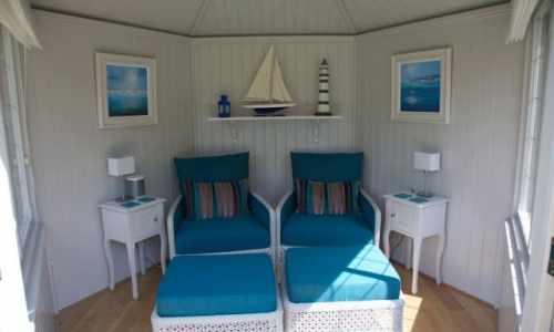 Summerhouses gazebos beach huts essex uk the garden for Beach hut designs interior