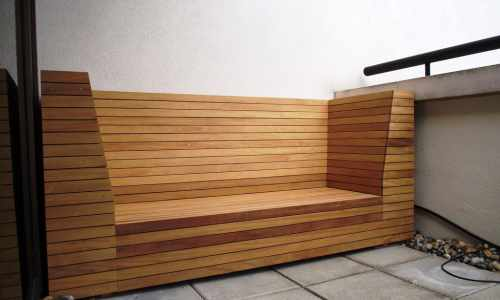 Slatted Iroko bench