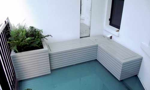 Slatted Planter Bench Combo   Painted F&B Hardwick White