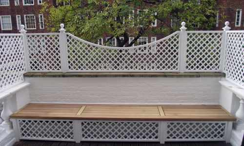 Trellis painted white with Iroko bench top