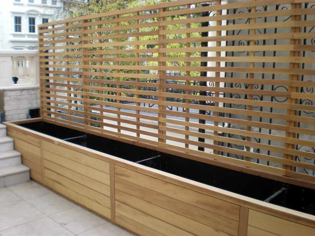 Contemporary Natural Slatted Panels Essex Uk The Garden Trellis Company