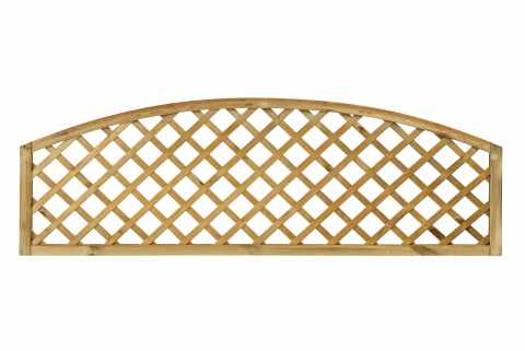 Open Diagonal Trellis Convex Arched Topper Panel ( Natural / Unpainted