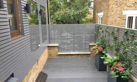 Grey painted slatted panels