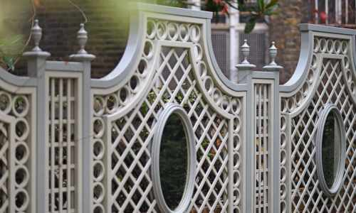 Custom Painted Trellis Panels with Mirrors