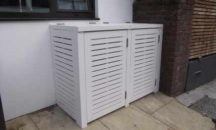 Painted Storage Unit with Slatted Doors