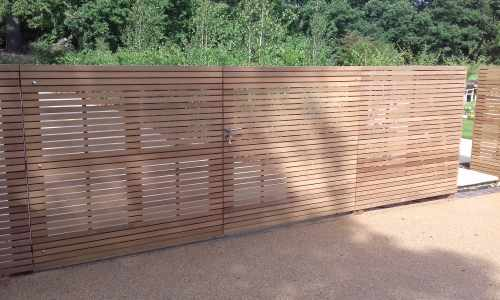 Iroko slatted driveway gate - front