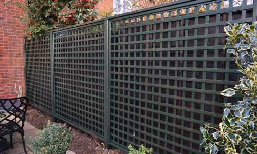 Open Prestige Square Trellis painted in Green Stain