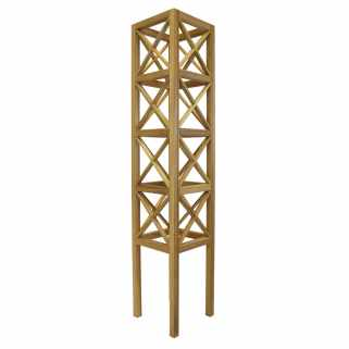 Square Wooden Tower Cross Detail Tower Obelisk - Natural
