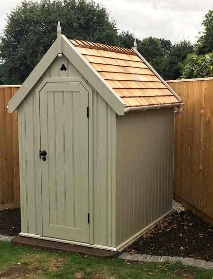 Traditional Shed painted Manhattan Grey, with Cedar Shingle roof option