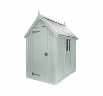 Painted Wooden Shed, tin roof with window (Manhattan Grey)