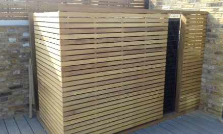 Slatted Iroko Air Conditioning Cover