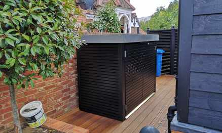 Contemporary Bike Shed with GRP Roof, painted Black