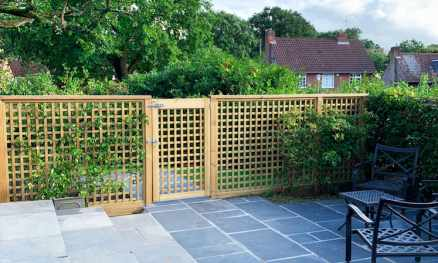 Ready Made project RHS Prestige Square Trellis and Gate 68mm gap Radiata Pine